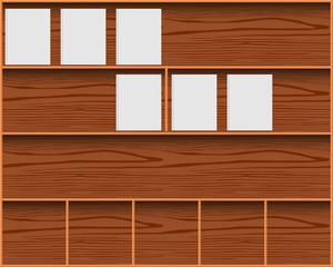 bookcase with blank cover books