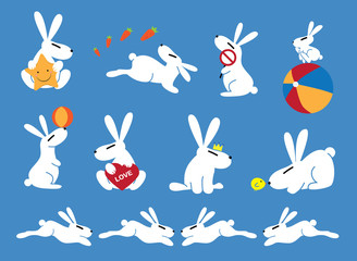 White rabbits with blue background