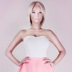 Beauty blonde sensual woman.