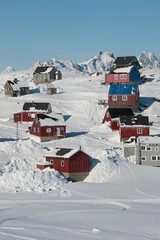 Acrylic Prints Arctic Colorful houses in Kulusuk, East Greenland