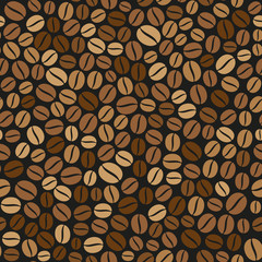 Coffee Beans Seamless Pattern on Dark Background