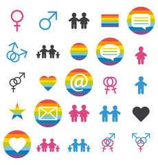 Flat design. Love, family and gays icons an pictograms set.