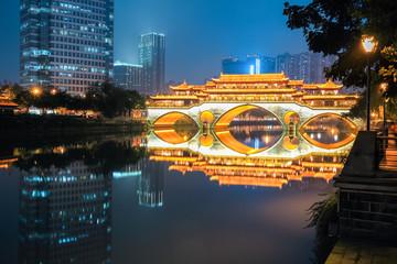 Fotobehang - chengdu anshun bridge at night