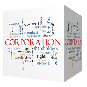 Corporation 3D cube Word Cloud Concept