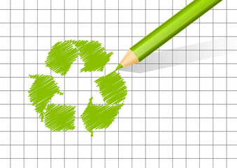 Recycling symbol on paper background