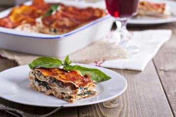 Vegan lasagna with tofu