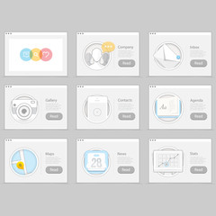Set of flat concept icons elements for web and mobile services