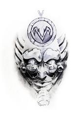 Mask, sketch of tattoo