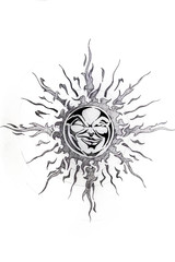 Sun, sketch of tattoo
