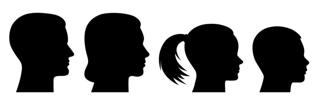 Set Familie: Frauenkopf, Männerkopf, Mädchenkopf, Jungenkopf