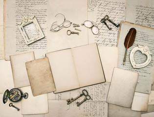 vintage writing accessories, old letters and frames