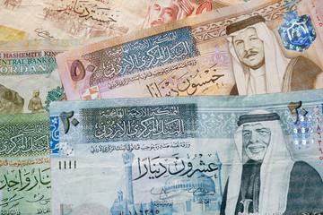 Jordanian dinar banknotes background