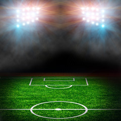 Soccer field with spotlights