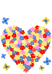 Karte Herz aus Blumen mit Schmetterlingen