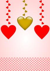 Karte mit hängenden Herzen und Abschlussborde mit roten Herzen
