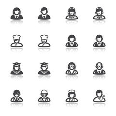 People flat icons with reflection. Professions and roles
