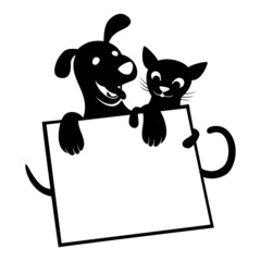 Vector sign. Cat and dog.