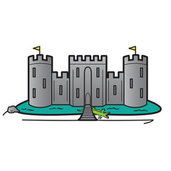 Castle Home Security System Concept, Vector