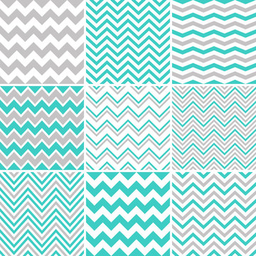 Grey & turquoise chevron seamless patterns
