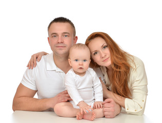 Young family with newborn child baby girl toddler isolated