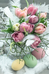 easter decoration with tulip flowers and eggs