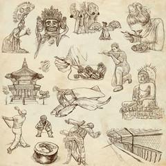 KOREA_1. Full sized hand drawn illustrations on old paper