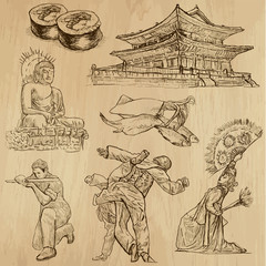 KOREA_1. Set of hand drawn illustrations into vectors