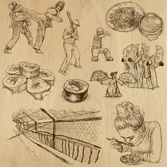 KOREA_2. Set of hand drawn illustrations into vectors