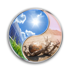 Wall Mural - energy solar can save our planet - environment  concept