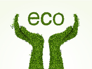 environmental care, the hands of the grass. concept of ecology