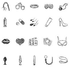 Vector Set of  Sketch Sexshop Icons