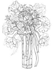 Bouquet of flowers in a vase, hand-drawn pen and ink