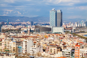 metropolitan area in cloudy day. Barcelona