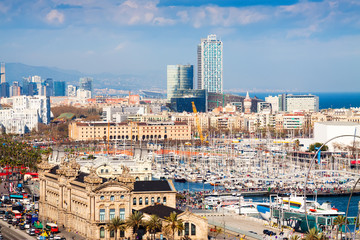 Port side of Barceloneta from Montjuic hill. Catalonia