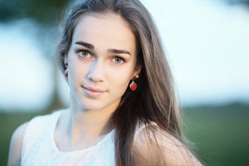 beautiful girl with long hair portrait