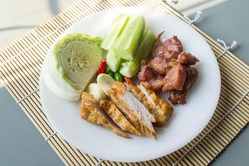 Thai fermented pork fried and vegetable