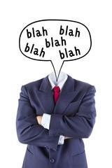 invisible businessman no head say blah blah blah