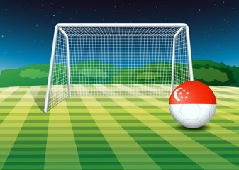 A ball near the net with the flag of Singapore