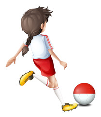 A soccer player with the Indonesian flag