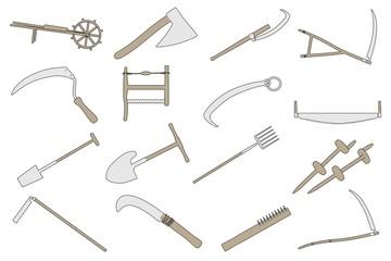 cartoon image of farming tools