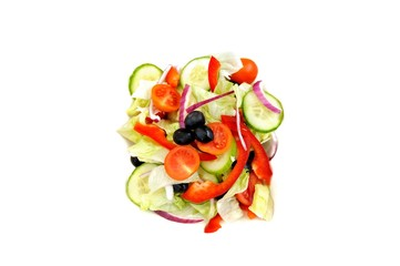 Green salad isolated on white background, healthy eating concept