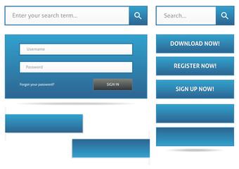 Blue webdesign elements