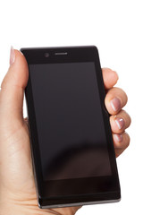 Woman's hand with smartphone