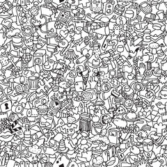 Icons seamless pattern in black and white
