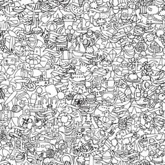 Holidays seamless pattern in black and white