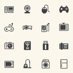 Home electronic Device icons set.