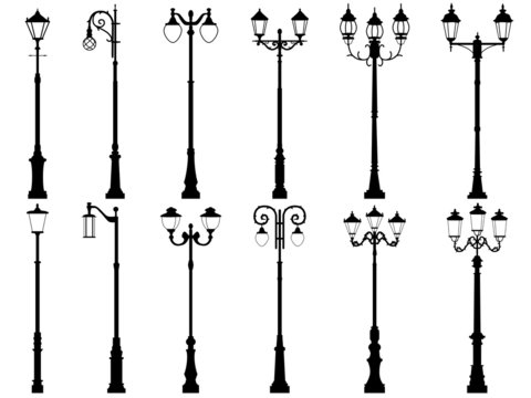 Set of vector silhouettes of lamppost.