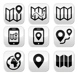Map travel buttons set