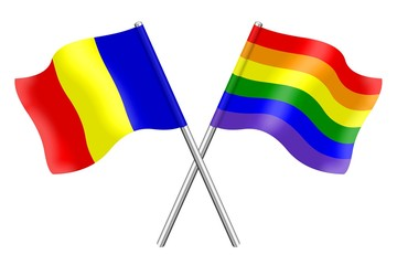 Flags : Romania and rainbow