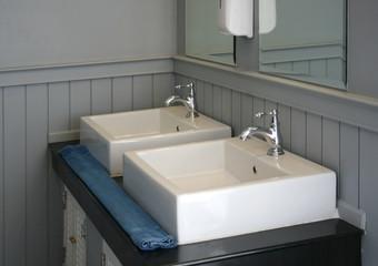 Modern white basin in hotel